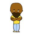 comic cartoon shocked bald man with beard vector image vector image