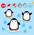 cut glue penguin children paper winter game vector image vector image