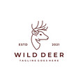 deer antlers line art logo design vector image