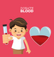 donate blood boy test tube vector image vector image