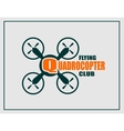 Drone icon Quadrocopter flying club text vector image vector image