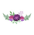 floral set collection with red purple flowers vector image vector image