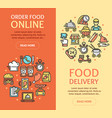food delivery service banner vertical set vector image