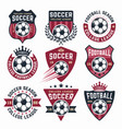 football collection of nine colored emblems vector image
