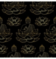 Gold Buddha sitting on Lotus Seamless Pattern vector image vector image