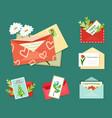 greeting letters with floral cards set bright vector image vector image