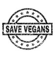 grunge textured save vegans stamp seal vector image vector image