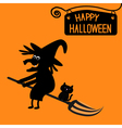 Happy Halloween witch and cat card vector image