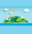island and sea in summer origami paper art vector image