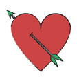 isolated heart and arrow design vector image vector image