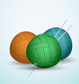 Knite balls of yarn on blue background vector image