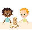 Little baby boy play in wood game African vector image vector image
