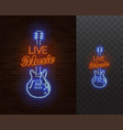 live music neon sign guitar with caption vector image vector image