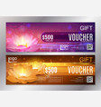 luxury golden and purple gift voucher set for vector image