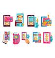 modern smartphones with online payments via vector image vector image