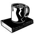 mug tea and book vector image vector image