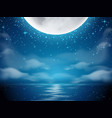 night background with moon and sea vector image vector image