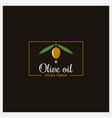 olive oil extra logo on black background vector image vector image