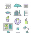 online education and e-learning concept icons vector image vector image