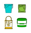 paint bucket icon set color outline style vector image