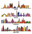 paris berlin moscow and new york triangular vector image