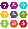 road works sign icon set color hexahedron vector image