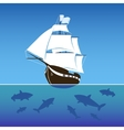 Sailing ship surrounded by sharks in the sea vector image vector image