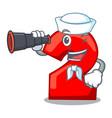 sailor with binocular cartoon cake birthday candle vector image