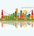 san francisco skyline with color buildings blue vector image vector image
