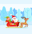 santa claus and elf riding sleigh christmas time vector image vector image