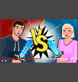 screensaver video post man and woman game vector image vector image