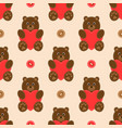 seamless pattern with cute bears and hearts vector image