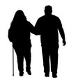 senior couple silhouette on a white vector image
