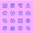 set icons banks and money success colored vector image vector image