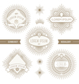 set line heraldic emblems with sunburst vector image vector image