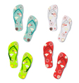 Set of colorful fun flip flops vector image