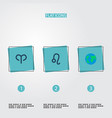 set of icons flat style symbols with aries glob vector image