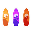 set surfboard with palm tree design vector image