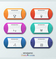 six colorful rounded elements with two arrows on vector image vector image