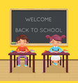 study pupil student sit class table desk education vector image