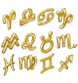 twelve golden figurines zodiac signs isolated vector image