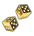 Two Golden Dice Cubes on White Background vector image