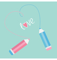 Two pencils drawing dash heart Love card vector image vector image