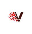v letter pixel logo icon design vector image