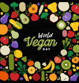 world vegan day card with vegetable icons vector image vector image