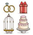 colorful wedding icon set vector image