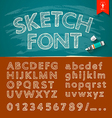 Hand drawn sketch alphabet and numbers vector image