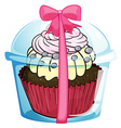 A cupcake with a pink ribbon lace vector image vector image