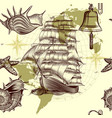 antique pattern with ship shells and map vector image vector image