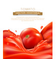 background with splashes waves red tomato vector image